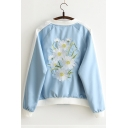Chic Floral Embroidered Stand-Up Collar Zip Up Long Sleeve Baseball Jacket