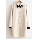 New Trendy Bow Tie Front Contrast Cuff Button Down Longline Shirt