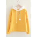 Embroidery Letter Pattern Contrast Hood Long Sleeve Hoodie
