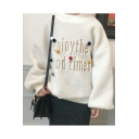 Winter Collection Letter Pattern Crew Neck Long Sleeves Loose Over-Sized Pullover Sweater with Pompoms