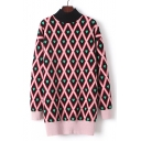 Color Block Heart Diamond Plaid High Neck Long Sleeve Tunic Sweater