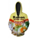 Delicious Ramen Egg Noodle Soup Letter Food Pattern Zippered Hoodie with Pockets