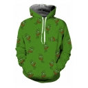 Pepe Funny Meme Frog Face Allover Pattern Long Sleeves Pullover Hoodie with Pocket