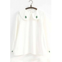 Girly Tree Embroidered Peter Pan Collar Long Sleeves Loose Pullover Blouse