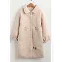 Stylish Floral Embroidered Button Down Balloon Sleeves Lapel Longline Woolen Coat