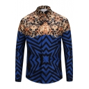 Fancy Geometric Vintage Pattern Point Collar Long Sleeves Button Down Shirt