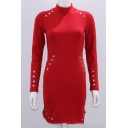Chic High Neck Long Sleeve Metal Loop Detail Mini Pencil Dress