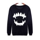 Fashionable Teeth Print Round Neck Long Sleeve Pullover Sweatshirt