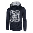 Leisure Logo Letter Printed Long Sleeves Pullover Casual Hoodie with Drawstring
