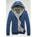Casual Faux Fur Padded Long Sleeves Zippered Hooded Men's Coat with Pockets