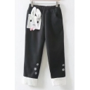 Adorable Rabbit Cartoon Patched Snowflake Pattern Elastic Waist Casual Pants