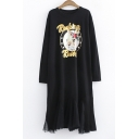 Fashion Rabbit Pattern Sequined Letter Round Neck Long Sleeve Mesh Panel Dress
