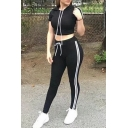 Hot Slim-Fit Striped Side Hooded Short Sleeves Tee with Drawstring Waist Sports Pants
