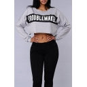 Hot Fashion Letter Pattern Round Neck Long Sleeves Pullover Cropped Tee