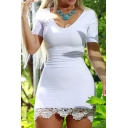 Sexy V-Neck Short Sleeve Lace Hem Slim-fit Bodycon Mini Dress