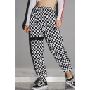 Fashion Classic Plaid Print Elastic Waist Casual Pants