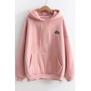 Simple Embroidery Pattern Long Sleeves Drawstring Hoodie with Pocket