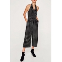 Trendy Halter Polka Dot Wrapped Front Button Detail Jumpsuit