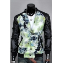 Faux Leather Panel Color Block Print Long Sleeve Stand-Up Collar Single Breasted Jacket