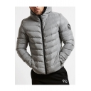 Winter Fashion Long Sleeves Badge Symbol Embellished Zippered Hooded Quilted Coat