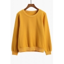 Leisure Round Neck Long Sleeves Simple Plain Unisex Pullover Sweatshirt