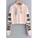 Stylish Over-Sized Letter Printed Long Sleeves Pullover Cropped Hoodie with Drawstring