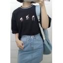 Popular Skater Skateboard Embroidery Round Neck Short Sleeves Over-Sized Unisex T-shirt