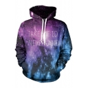 Fashionable 3D Galaxy Letter Print Long Sleeve Drawstring Hoodie