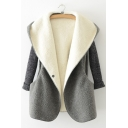 Trendy Single Button Knitted Insert Long Sleeve Hooded Simple Plain Coat