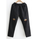 New Stylish Cartoon Bear Embroidered Elastic Waist Pants