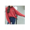 Cartoon Fox Embroidered Round Neck Batwing Long Sleeve Pullover Sweater
