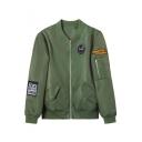 Cool Letter Embroidered Badge Embellished Long Sleeve Bomber Jacket