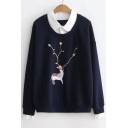 Elegant Collared Long Sleeves Deer Pattern Layered Pullover Sweatshirt with Pompoms