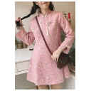Chic Floral Embroidered Stand-Up Collar Long Sleeve Swing Mini Dress