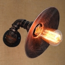 Industrial Pipe Wall Sconce with 11.42''W Saucer Metal Shade in Rust