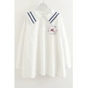 Funny Embroidered Navy Collar Long Sleeve Buttons Down Shirt
