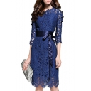 Chic Floral Lace Up Round Neck Half Sleeve Pencil Mini Dress