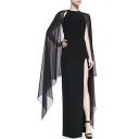 Simple Plain Split Side Lace Panel Round Neck Sleeveless Pencil Maxi Dress