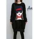 Fashion Cartoon Girl Print Long Sleeve Round Neck Sweatshirt Dress