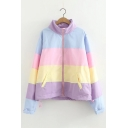 Color Block Stand-Up Collar Zip Up Long Sleeve Coat