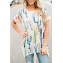Casual Allover Cactus Printed Boat Neck Short Sleeves High Low Hem Tunic Tee