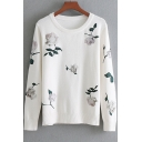 Floral Embroidered Round Neck Long Sleeve Pullover Sweater