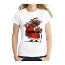 Popular Christmas Alien Santa Gift Printed Round Neck Short Sleeves Pullover Tee