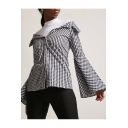 Chic Plaid Off The Shoulder Flared Long Sleeve Buttons Down Shirt