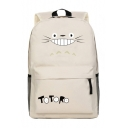 Lovely Cat Cartoon Letter Pattern Zippered Backpack Laptop Schoolbag