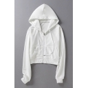 Simple Plain Drawstring Hood Zip Up Long Sleeve Cropped Hoodie