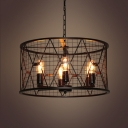 Industrial 6 Light Chandelier with 21.7''W Cylinder Metal Cage