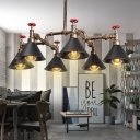 Industrial 35''W Chandelier with Cone Metal Shade in Vintage Style, 6 Light