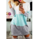 New Stylish Color Block Print Long Sleeve Round Neck Sweater Dress