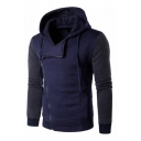 Fashionable Color Block Long Sleeves Casual Sports Zip-up Hoodie with Pockets